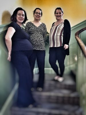 Baby boom at DM MacKinnon! Pictured left to right are Laura McManus, Louise Fraser and Caroline Isaac, all expecting new arrivals in April 2017